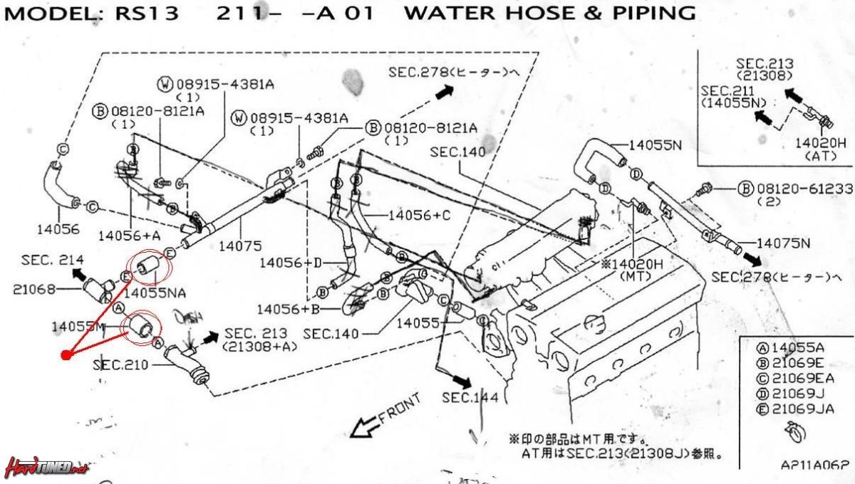 ca18det heater  water lines removel - nissan silvia  nissansilvia com